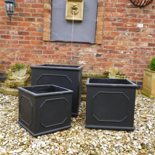 Bridgford Cube Planter, Set of 3 - in Stone
